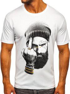 Biały t-shirt męski z nadrukiem Bolf 142175