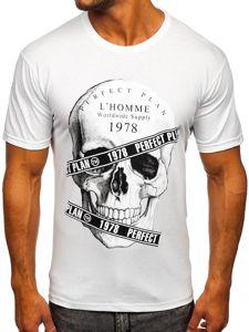 Biały t-shirt męski z nadrukiem Bolf 142176