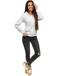 Bluza damska z kapturem biała Denley WB1005