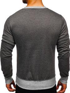 Bluza męska bez kaptura z nadrukiem antracytowa Denley J10
