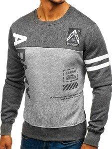 Bluza męska bez kaptura z nadrukiem antracytowo-szara Denley J45