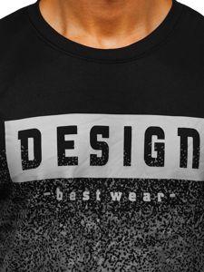 Bluza męska bez kaptura z nadrukiem czarna Denley 8910