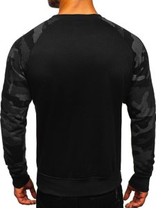 Bluza męska bez kaptura z nadrukiem czarna Denley DD04