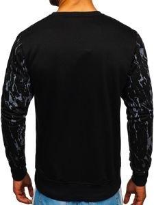 Bluza męska bez kaptura z nadrukiem czarna Denley DD15