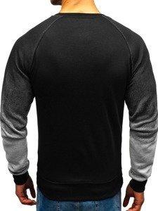 Bluza męska bez kaptura z nadrukiem czarna Denley DD385