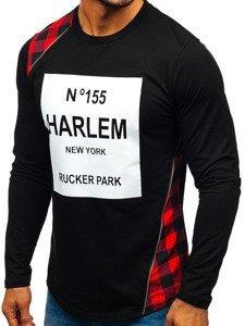 Bluza męska bez kaptura z nadrukiem czarno-czerwona Denley 0756