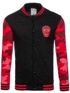 Bluza męska bez kaptura z nadrukiem czarno-czerwona Denley 0844