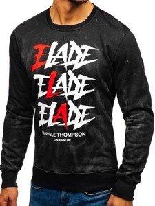 Bluza męska bez kaptura z nadrukiem czarno-grafitowa Denley DD590