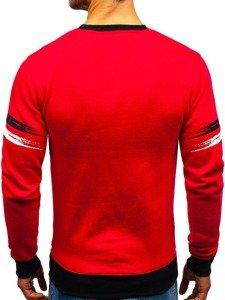 Bluza męska bez kaptura z nadrukiem czerwona Denley DD309