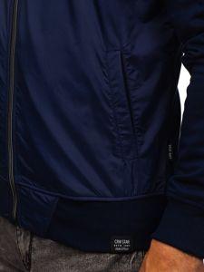 Bluza męska bez kaptura z nadrukiem granatowa Denley 3803