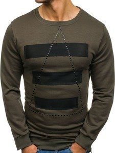 Bluza męska bez kaptura z nadrukiem khaki Denley 9102
