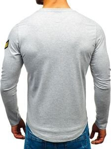 Bluza męska bez kaptura z nadrukiem szara Denley 0734