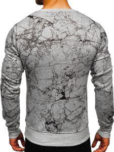 Bluza męska bez kaptura z nadrukiem szara Denley J40