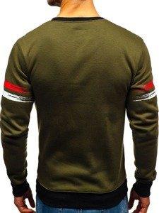 Bluza męska bez kaptura z nadrukiem zielona Denley DD309