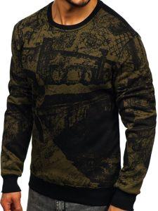 Bluza męska bez kaptura z nadrukiem zielona Denley DD659