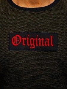 Bluza męska bez kaptura z nadrukiem zielona Denley HY298