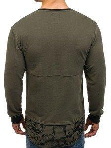 Bluza męska bez kaptura z nadrukiem zielona Denley NRT535