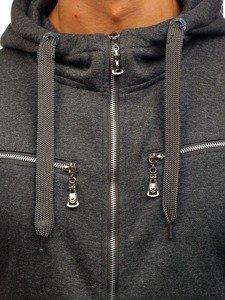 Bluza męska z kapturem antracytowa Denley 004