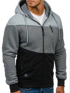 Bluza męska z kapturem czarno-szara Denley 2013