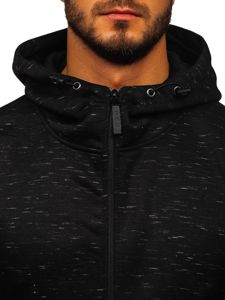 Bluza męska z kapturem rozpinana czarna Denley 80581