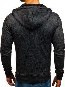 Bluza męska z kapturem rozpinana czarna Denley TC870