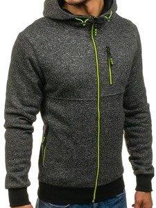Bluza męska z kapturem rozpinana czarna Denley W1232