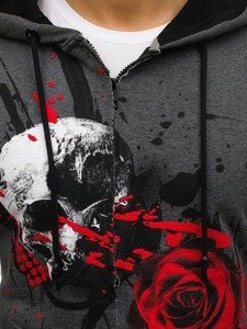 Bluza męska z kapturem rozpinana grafitowa Denley 171485
