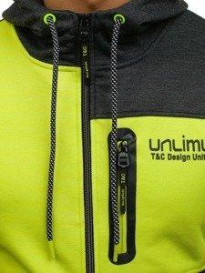 Bluza męska z kapturem rozpinana grafitowo-seledynowa Denley 2104