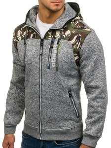 Bluza męska z kapturem rozpinana moro-szara Denley HH515
