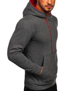 Bluza męska z kapturem z nadrukiem antracytowa Bolf 01