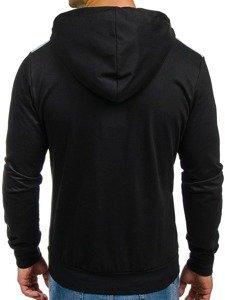 Bluza męska z kapturem z nadrukiem czarna Denley 1113