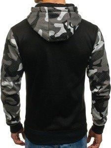 Bluza męska z kapturem z nadrukiem czarna Denley DD53