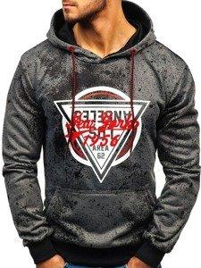 Bluza męska z kapturem z nadrukiem grafitowa Denley 11068