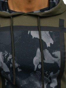 Bluza męska z kapturem z nadrukiem khaki Denley 9088