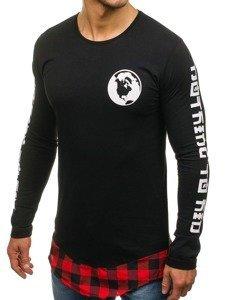 Bluza męska z nadrukiem czarno-czerwona Denley 0778
