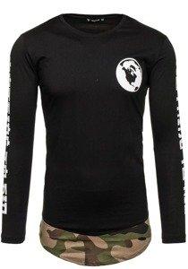 Bluza męska z nadrukiem czarno-zielona Denley 0778