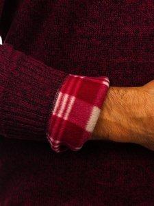 Bordowy ocieplany sweter męski Denley 7M117
