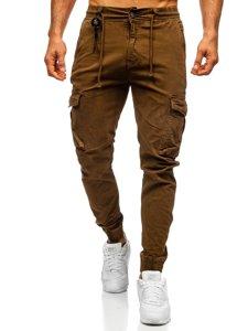 Brązowe spodnie joggery bojówki męskie Denley CT6705