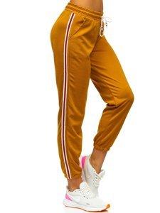 Camelowe spodnie dresowe damskie Denley YW01020A