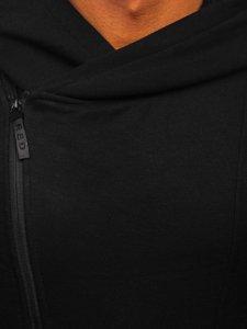 Czarna bluza męska z kapturem rozpinana Denley 80680