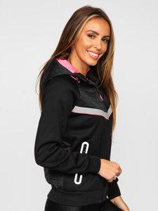 Czarna pikowana kurtka damska przejściowa z kapturem Denley KSW4012