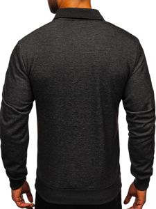 Czarno-biała bez kaptura bluza męska rozpinana z nadrukiem Denley TC1019