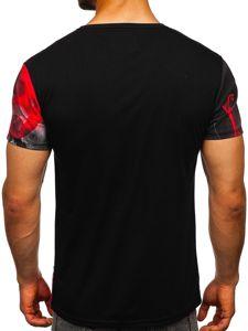 Czarno-czerwony T-shirt męski z nadrukiem Denley SS11117