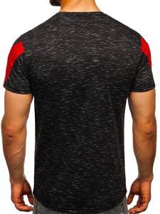 Czarny T-shirt męski z nadrukiem Denley SS11122