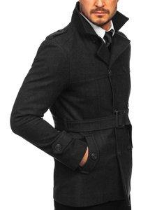 Czarny płaszcz dwurzędowy z paskiem męski zimowy z wysokim kołnierzem Denley 0009