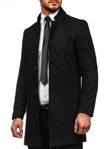 Czarny płaszcz męski zimowy Denley 0010