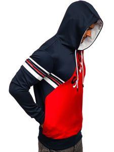 Czerwona z nadrukiem bluza męska z kapturem Denley DD20128