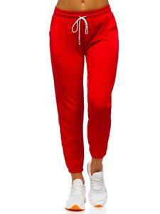 Czerwone spodnie dresowe damskie Denley YW01020A