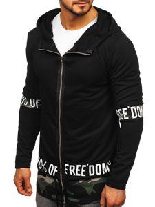 Długa bluza męska z kapturem rozpinana czarna Denley 171407