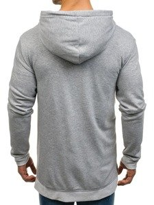 Długa bluza męska z kapturem rozpinana szara Denley 0891